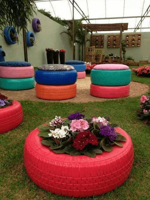 fioriera con pneumatici