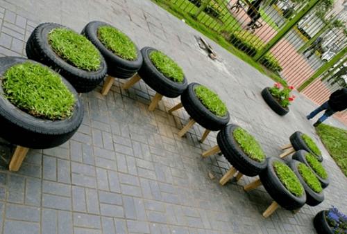 arredamento urbano con pneumatici